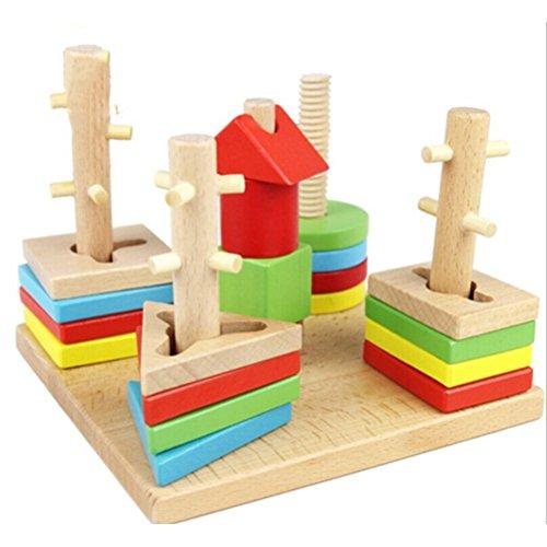 Tinksky Shape Sorter Geometric Stacker Wooden Building Block Set Multicolor