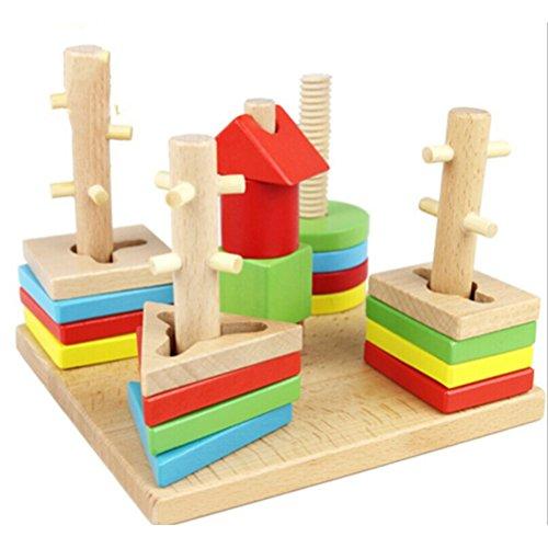 VORCOOL Wooden Colorful Geometry Column Shape Sort Building Blocks Set for Kids
