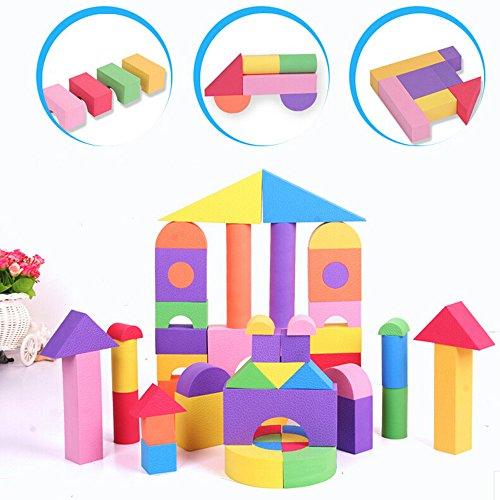 eonkoo coffled 50 Pcs New Baby Education Wooden Building Blocks Set Wood Foambuilding Colored Blocks Toys