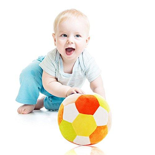 MBaby Colorful Baby Football Toys Rattle Balls Soft Newborn Infant Plush Pillow Orange Yellow
