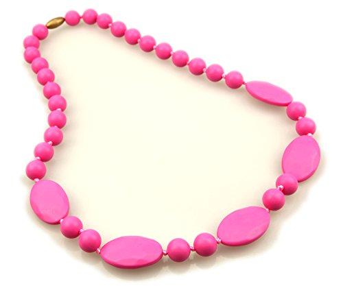 Deeyee Baby Teething Nursing Necklace Jewelry - BPA Free and FDA Approved - Pink
