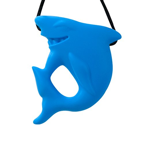 Stimtastic Chewable Silicone Shark Pendant Nontoxic BPA and Phthalate Free Aqua