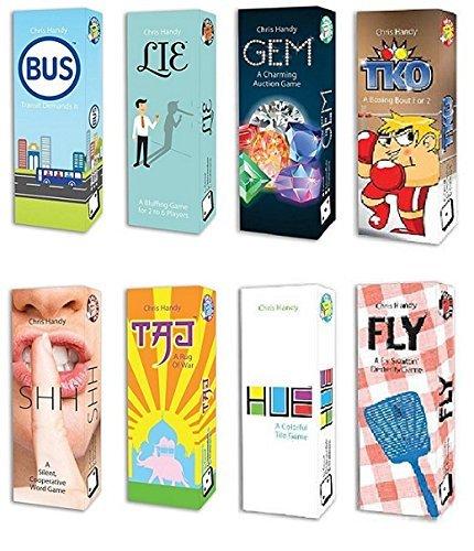 Pack-O-Game 8-Pack Card Game Bundle HUE TKO GEM FLY TAJ LIE SHH BUS