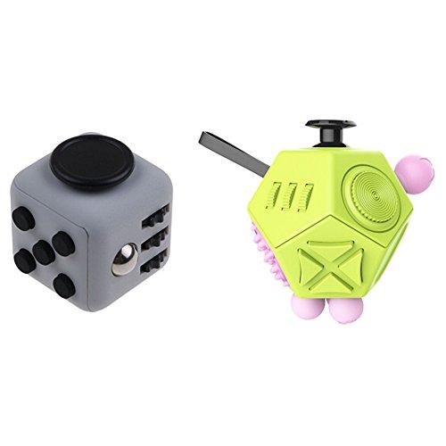 Xinzistar 2 Pcs Fidget Dice II Dice I Stress Release Office Toys Set for Children Adult Green 02