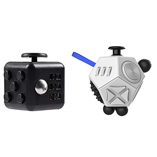 Xinzistar 2 Pcs Fidget Dice II Dice I Stress Release Office Toys Set for Children Adult White 01