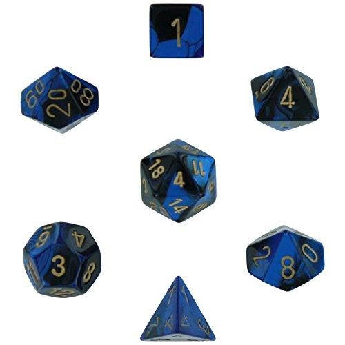 Polyhedral 7-Die Gemini Chessex Dice Set - Black-Blue wgold CHX-26435