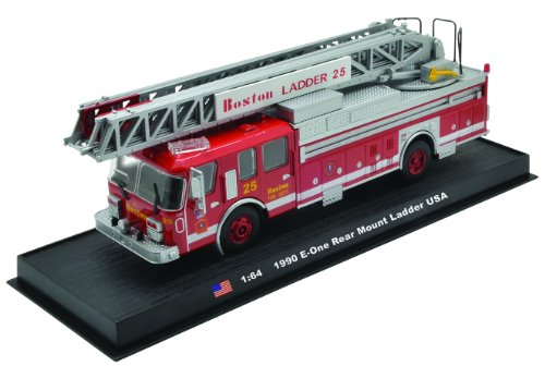 E-One Rear Mount Ladder Boston Fire Truck 1990 Diecast 164 Model Amercom GB-15