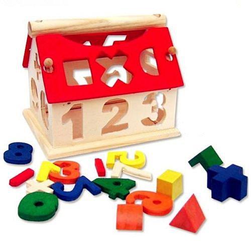 Kid Wooden Digital Number House Building Blocks Educational Intellectual Toy