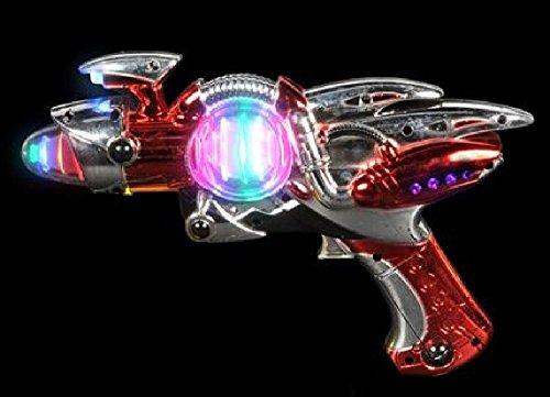 Light- Up Toy Gun - Red Laser Space Gun Blaster Toy -Noise Making -Super Spinning -11 12 Inch- For Children Play Time Pretend Parties Halloween Gifts - Kidsco