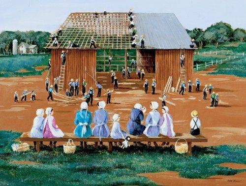 Barn Raising a 500-Piece Jigsaw Puzzle by Sunsout Inc