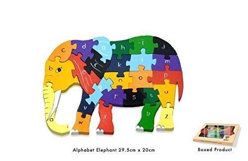 Beautifully Handmade and Educational Wooden Elephant Alphabet Jigsaw Puzzle by Alphabet Jigsaws