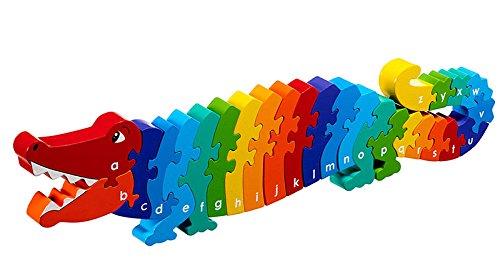 Lanka Kade Fair Trade Childrens ABC Wooden Crocodile A-Z Alphabet Jigsaw Puzzle