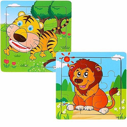 VICTORY-JigsawWooden Cartoon Jigsaw Puzzles for Baby Early Intelligence Toys 9PC-Tiger-Lion
