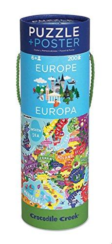Crocodile Creek Europe Map Jigsaw Puzzle Matching Poster 200 Piece