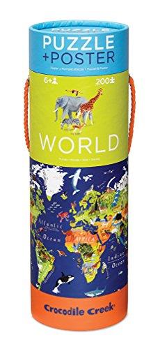 Crocodile Creek World Map 200 piece Jigsaw Puzzle and Matching Poster