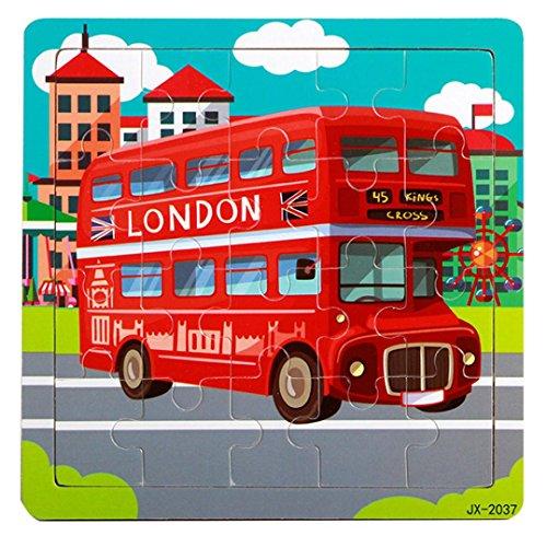 Gotd 20 Pieces Puzzles Multicolor Wooden Double Decker Bus