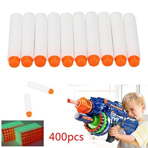 Top Home Dec 400pcs 72cm Refill Bullet Darts for Nerf N-strike Elite Series Blasters Kid Toy Gun-Fluorescence