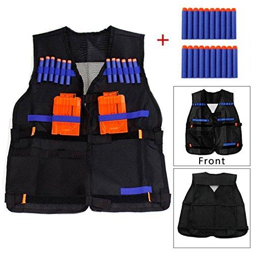 Yosoo Kids Elite Tactical Vest with 20 Pcs Soft Foam Darts for Nerf Gun N-strike Elite Series Not Including 2 Clips