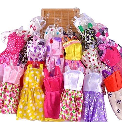 5pcs Fashion Mini Dress For Barbie Doll Handmade Short Party Gown Clothes  5 hangers  5 shoes