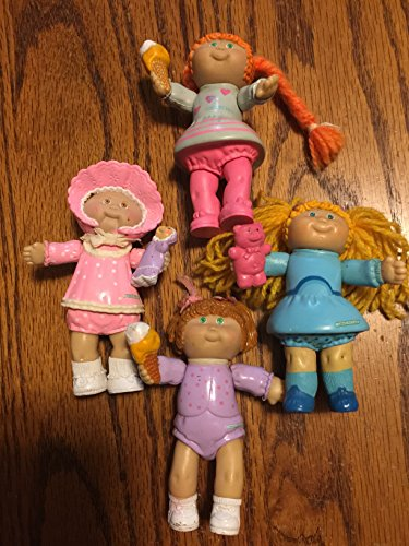 Four 3 12 Vintage Cabbage Patch Kids Jointed Figures 1984 Two holding Teddy Bears Two holding Ice Cream Cones
