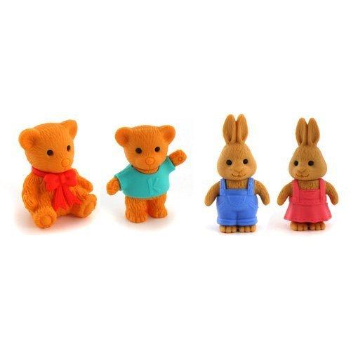 Iwako Japanese Erasers - 2 Teddy bear and 2 rabbits 4 pieces by Iwako