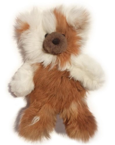 Baby Alpaca Fur Teddy Bear - Hand Made 12 Inch Multi Colored - Honey  White