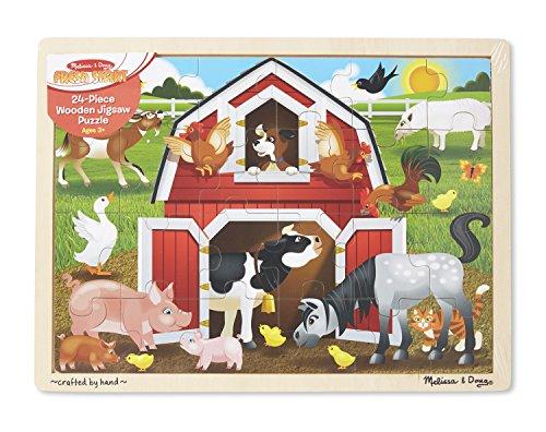Melissa Doug Barnyard Wooden Jigsaw Puzzle 24 pcs