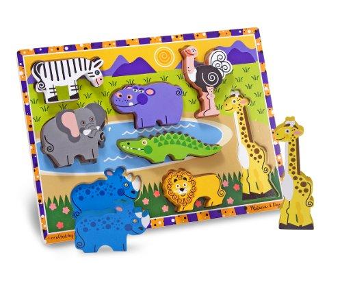 Melissa Doug Safari Wooden Chunky Puzzle 8 pcs