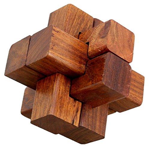 ShalinIndia Handmade Wooden IQ Teaser Puzzle Magic Games Interlock Notch Sticks 35X35X35 Inch For Children Unique Kids Gifts