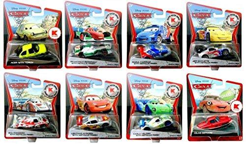 Kmart Disney Pixar Cars 2 Set of 8 Silver Racers Raoul Caroule Shu Todoroki Carla Veloso Lightning McQueen Jeff Gorvette Francesco Bernoulu Acer W Torch Celine Dephare Chase