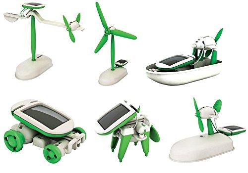 EITC 6-in-1 Educational Solar Kit Solar Power Toy DIY Educational Robot 6 in 1 Kit CarBoatDogFanPlane For Chidren Kids