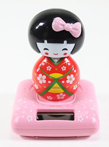 Solar Power TOY - Red Kimono Cute Geisha Japanese Girl Car Home Decor