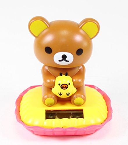 Solar Power Toy - Rilakkuma Relax Bear Holding Kiiroitori Car Dashboard Gift Home Decor