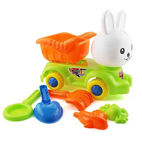 7 PCS Seaside Kids Beach Plastic Rabbit Shape Car Toy Set Summer Sand Play GamesFor 3 Children Outdoor Toys Gifts