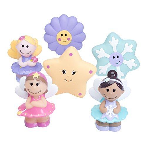 Elegant Baby 6 Piece Bath Time Fun Rubber Water Squirties Vinyl Zip Storage Bag Fairy Party by Elegant Baby