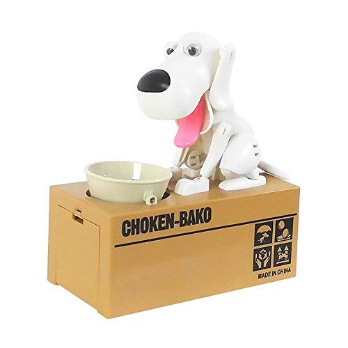 Balai Dog Puppy Toy Bank Coin Eating Piggy Saving Money Box White