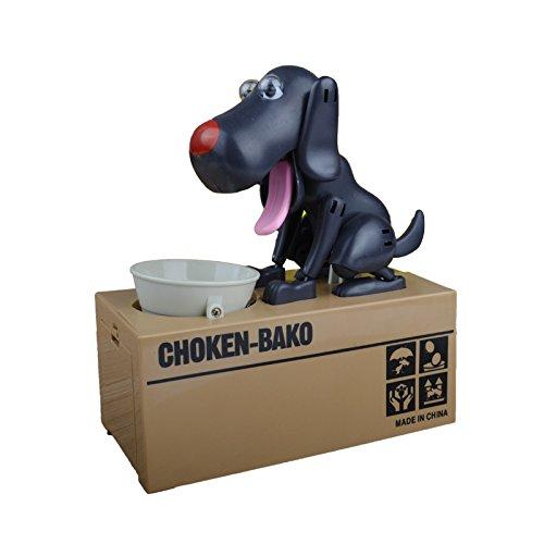 IcollectBlack Dog Piggy Bank - Robotic Coin Munching Toy Money Box