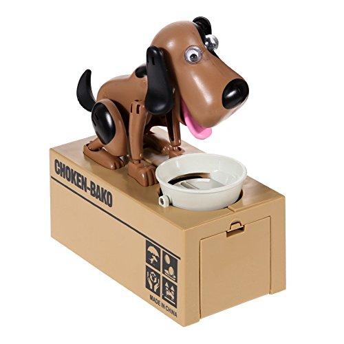 PowerTRC My Dog Piggy Bank - Robotic Coin Munching Toy Money Box Black Brown Color