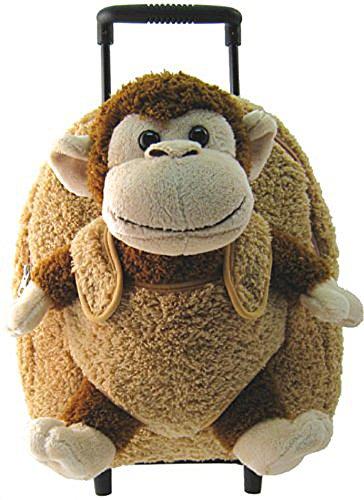 Plush Monkey Chimp Brown Furry Trolly Rolling Backpack w Wheels