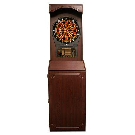 Arcade-Style Electronic Dartboard Cabinet - Mahogany