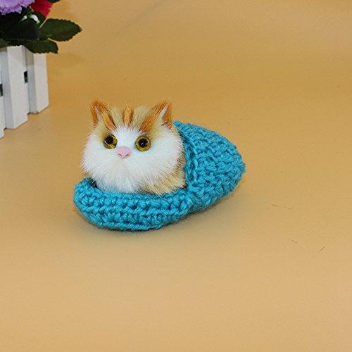 Lanlan 1PCS 10x6CM Mini Simulation Sounding Shoe Kittens Cat Plush Toys Kids Appease Doll Christmas Birthday Gifts Blue