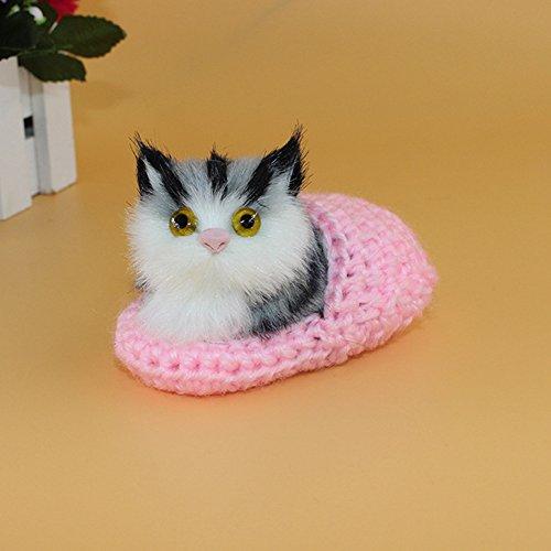 Lanlan 1PCS 10x6CM Mini Simulation Sounding Shoe Kittens Cat Plush Toys Not Need Feed Pet Kids Appease Doll Christmas Birthday Gifts Pink