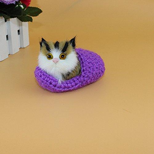 Lanlan 1PCS Purple 10x6CM Cute Simulation Pet Cat Toys Sounding Shoe Kittens Cat Plush Toys Not Need Feed Pet Kids Appease Doll New Year Christmas Birthday Gifts