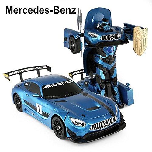 24Ghz Radio Control 114 Mercedes-AMG GT3 Transformers Model RC Car Robot Blue
