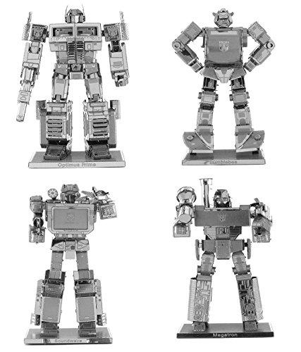 Fascinations Metal Earth Transformers 3D Metal Model Kits Set of 4 - Optimus Prime Bumblebee Soundwave and Megatron