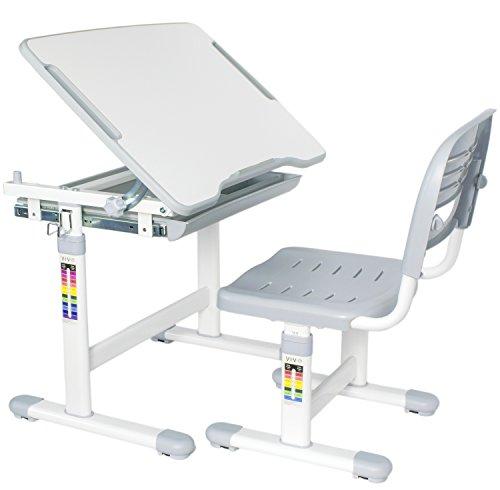 VIVO Height Adjustable Childrens Desk Chair Set  Kids Interactive Work Station Grey DESK-V201G