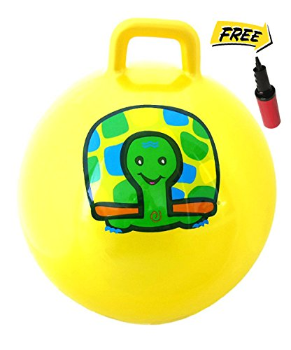 WALIKI TOYS Hopper Ball For Kids Ages 3-6 Hippity Hop Ball Hopping Ball Bouncy Ball With Handles Sit Bounce Kangaroo Bouncer Jumping Ball 18 Inches Yellow Pump Included