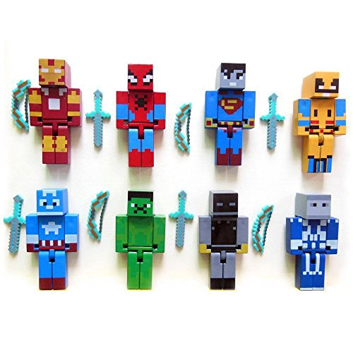 Minecraft Themed Super Hero Action Figures Mini Figures