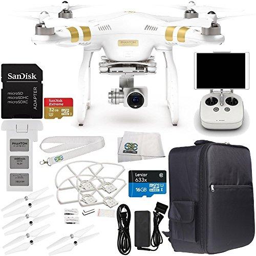 DJI Phantom 3 Professional Quadcopter w 4K Camera 3-Axis Gimbal Manufacturer Accessories  DJI Propeller Set  Backpack  Quick-Release Snap OnOff Prop Guards  MORE