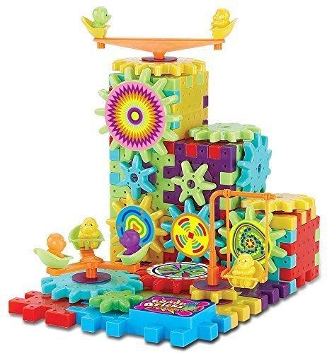 81 Piece Funny Bricks Gear Building Toy Set - Interlocking Learning Blocks - Motorized Spinning Gears by Funny Bricks